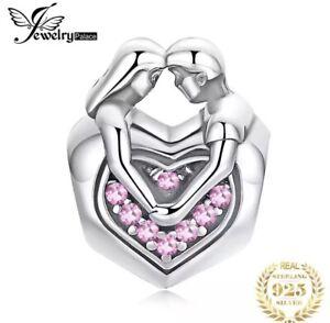 Charm Anhänger Charms Herz Herzen Treue Liebe Paar Liebe 925 Silber für Pandora