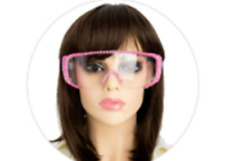 Rhinestone Pink Safety Eye Protective Clear Glasses Goggles (1 pair)
