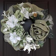 "24"" Wonderful Unique Handmade Grey White Green Wreath - November GREAT GIFT"