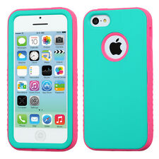 For iPhone 5C - HARD & SOFT RUBBER HYBRID ARMOR SKIN CASE TURQUOISE BLUE + PINK