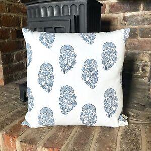 1024. BLUE BLOCK PRINT 100% Cotton Cushion Cover, Various sizes