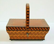 ANTIQUE 19th C INLAID WOOD SWING HANDLE BOX SEWING TRINKETS EXCELLENT CONDITION