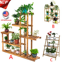 Multi-Tier Wood Plant Stand Planter Rack Flower Pots Holder Display USA Lot