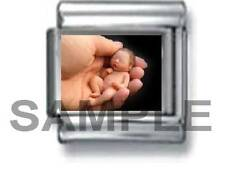 NEW BORN BABY HELD IN LOVE 9MM ITALIAN CHARM LINK birth child newborn neonatal