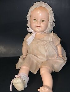 Antique Composition Shirley Temple Baby Doll In Tagged Dress 1930's