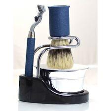 SET COMPLETO DA BARBA OMEGA gillette mach 3 shaving set kit M1275 4 pezzi blu