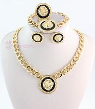 Trendy Gold-Tone Enamel Lion Head Choker Necklace Bracelet Ring Earrings Sets