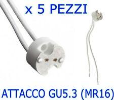 PORTA LAMPADA GU5.3 (MR16) 12v ATTACCO PER FARETTI LAMPADINE A LED KIT 5 PEZZI