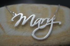 Personalized 14k White Gold Script Name Necklace Handmade ANY NAME