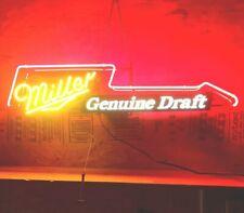 Vtg 1991 Miller Genuine Draft lighted neon Sign, Bar light Mancave, Guitar Light