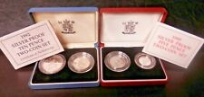 More details for two pairs silver proof large & small size 5p 1990 10p 1992 uk royal mint boxed