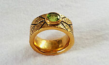 Antique style BRASS Band RING Genuine PERIDOT 1.66ct 7MM Rd Solitaire Sz 10 NEW!