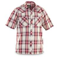 Guide Gear Men's Western Shirt Short Sleeve Red / Indigo Rodeo Farm Plaid Shirt