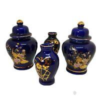 Vintage Cobalt Blue Kutani Gorgeous Ginger Jar Peacock Floral Japan Lot, Set