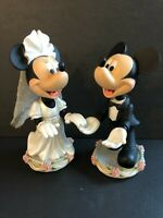 Disney Bride Minnie & Groom Mickey Mouse Magnetic Bobblehead Wedding Cake Topper