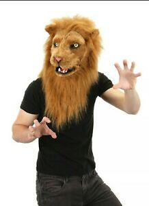 Over Head Brown Lion king Costume Moving Mouth Masquerade Mask adult Halloween
