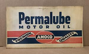 Vintage Amoco Sign Permalube Motor Oil Rack Top Garage Gas Wall Decor Car Tools