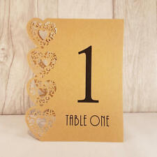 Brown Craft Wedding Table Numbers, 1-15, Laser Heart Design, Standalone NEW