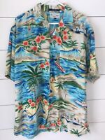 Tommy Hilfiger Hawaiian Shirt Men's LARGE Button Down Short Sleeve Tropical