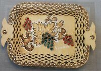 Vintage Hand Painted Handled Serving Tray Wooden Romanian Treen Stunning!