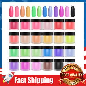 24 Colors Acrylic Powder Nail Art Tips UV Gel Dust Design Decoration 3D Manicure