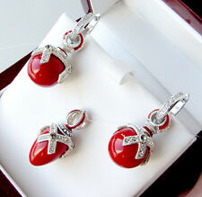SALE !  SUPERB EARRINGS & PENDANT SET STERLING SILVER w/ GENUINE CORAL &  ENAMEL