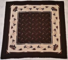"""VINTAGE PHEASANTS FEATHERS BROWN IVORY BLUE  46"""" SQUARE SCARF"""