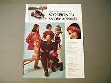 Vintage 1974 Scorpion Snowmobile Snow Apparel Brochure