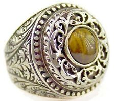Men's sterling silver ring, natural tiger eye gemstone, steel pen craft handmade