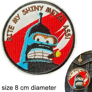Bite my shiny metal ass iron on patch red futurama bender robot iron-on patches