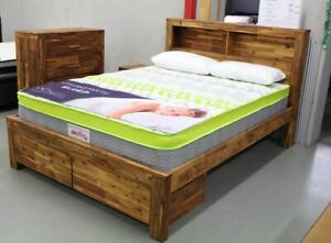 Java  Acacia King Bed With 2 Storage Drawers - Java Rustic (5 Year Warranty)