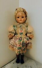 Vintage Hard Plastic Doll 18'' Glass Eyes Painted Face Original Dress