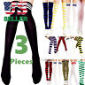 3 Women's Striped Thigh High Socks Sheer Over The Knee Plus Size Stockings USA
