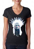 Indian Chief V-NECK WOMEN T-Shirt Native American Southwest Ethnic Ladies Shirt