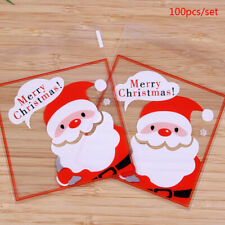 100pcs Christmas Candy Ziplock Bags Biscuit Cow Tie Transparent Packaging