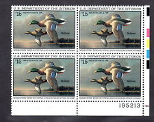 RW62 $15 plate block of 4  MNH Pl#195213 Mallards