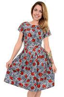 LADIES 60s 70s RETRO NEW VINTAGE FLORAL SHIFT BELT DRESS SIZES 8 10 12 14