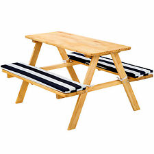 Kids picnic table bench set children wood garden furniture cushions blue white
