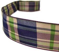 "2 Yds Purple Green Blue Plaid Ribbon 1 1/2""W"