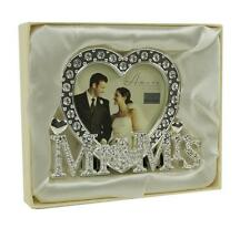 Silver Plated Heart Shaped Mr and Mrs Wedding Photo Frame In Gift Box WG538
