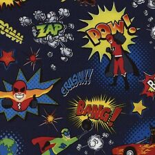 TIMELESS TREASURES SUPPER HEROES AND ACTION WORDS ON NAVY BLUE COTTON FABRIC BTY
