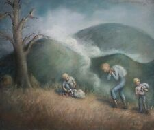 Stellar Pastel Painting on Paper of Three Young Men Picking / Carrying Apples!