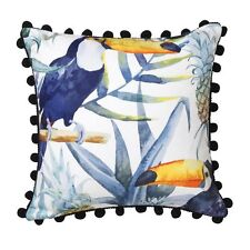 TOUCAN INK Pom PomTropical Square Filled Cushion by LOGAN AND MASON