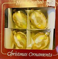 Vintage Christmas Gold Oval Glass Ornaments Ukram European Mouth Blown Set of 4