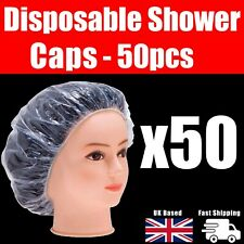 50 Plastic Shower Caps Bathing Elastic Clear Hair Care Protector Weather Hat