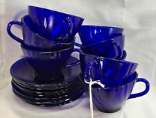 Duralex Rivage Swirl Cups and Saucers  Cobalt Blue Set Of Six