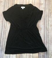 Calvin Klein Women's Black Tunic Blouse Short Sleeve Top  Sz Small V-Neck Shirt
