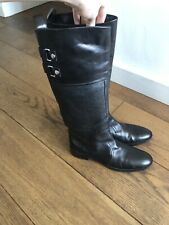 Sergio Rossi Black Leather Boots SZ 39.5