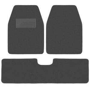 3pc Set Charcoal Heavy Duty Carpet SUV Van Pickup Car Floor Mats Front Rear Rug