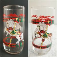 Vtg House of Lloyd Christmas Horse & Carousel Red & Green 8 Tumblers 13oz